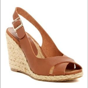 Dune London Kia Tan Leather Wedge Sandal Slingback